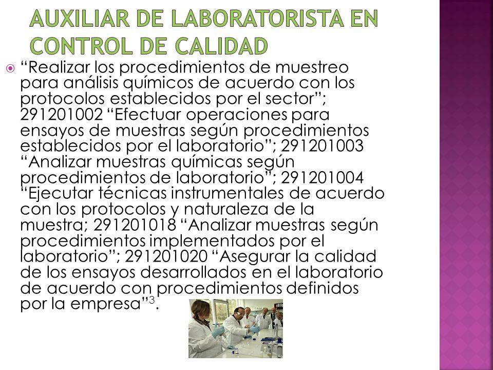 Realizar los procedimientos de muestreo para análisis químicos de acuerdo con los protocolos establecidos por el sector; 291201002 Efectuar operacione