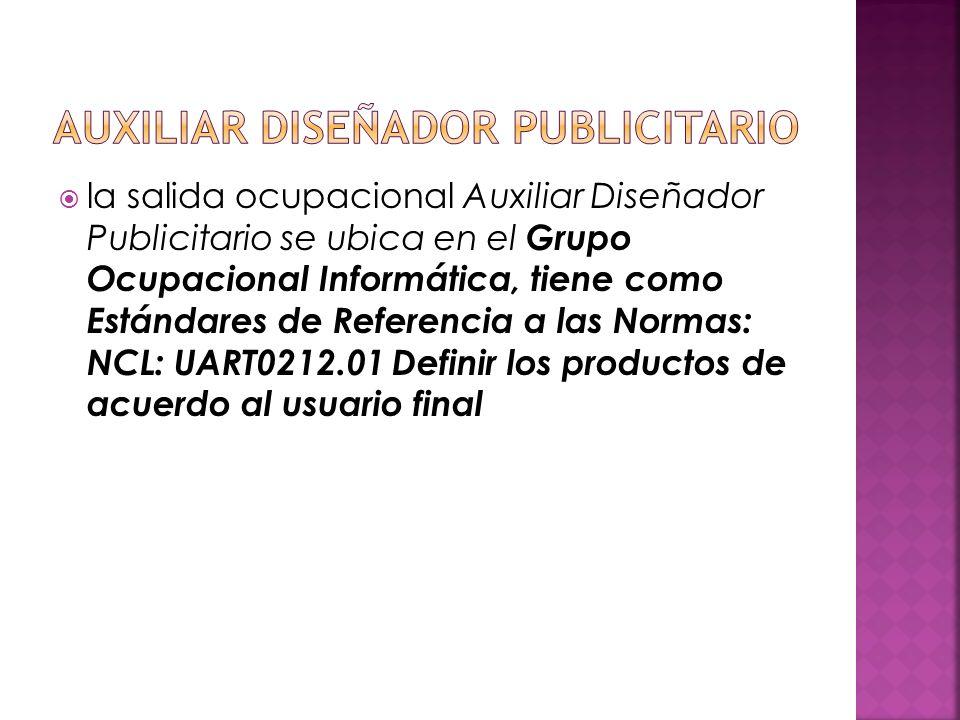 la salida ocupacional Auxiliar Diseñador Publicitario se ubica en el Grupo Ocupacional Informática, tiene como Estándares de Referencia a las Normas: