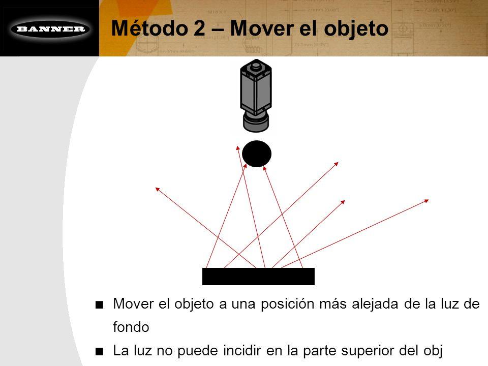 Método 2 – Mover el objeto Mover el objeto a una posición más alejada de la luz de fondo La luz no puede incidir en la parte superior del obj