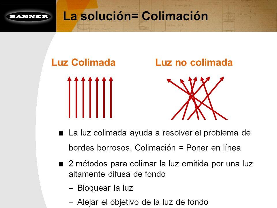 La solución= Colimación La luz colimada ayuda a resolver el problema de bordes borrosos. Colimación = Poner en línea 2 métodos para colimar la luz emi
