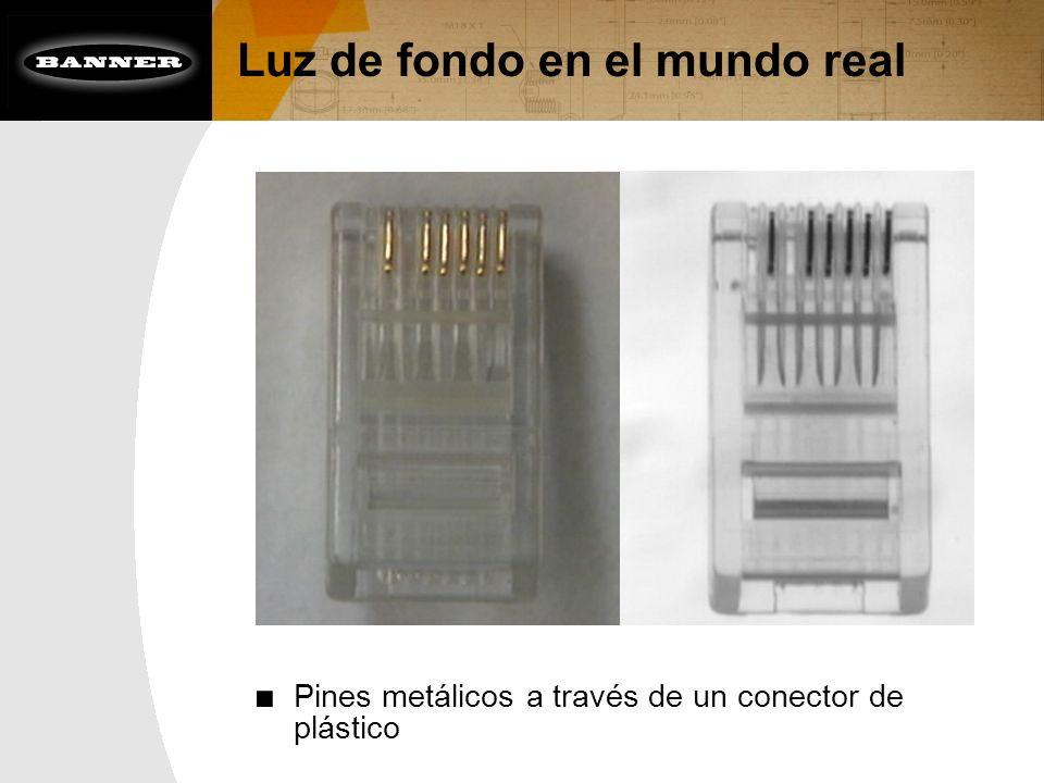 Luz de fondo en el mundo real Pines metálicos a través de un conector de plástico