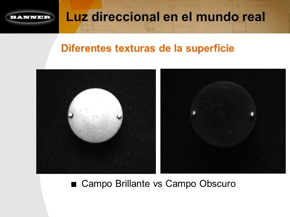 Luz direccional en el mundo real Diferentes texturas de la superficie Campo Brillante vs Campo Obscuro