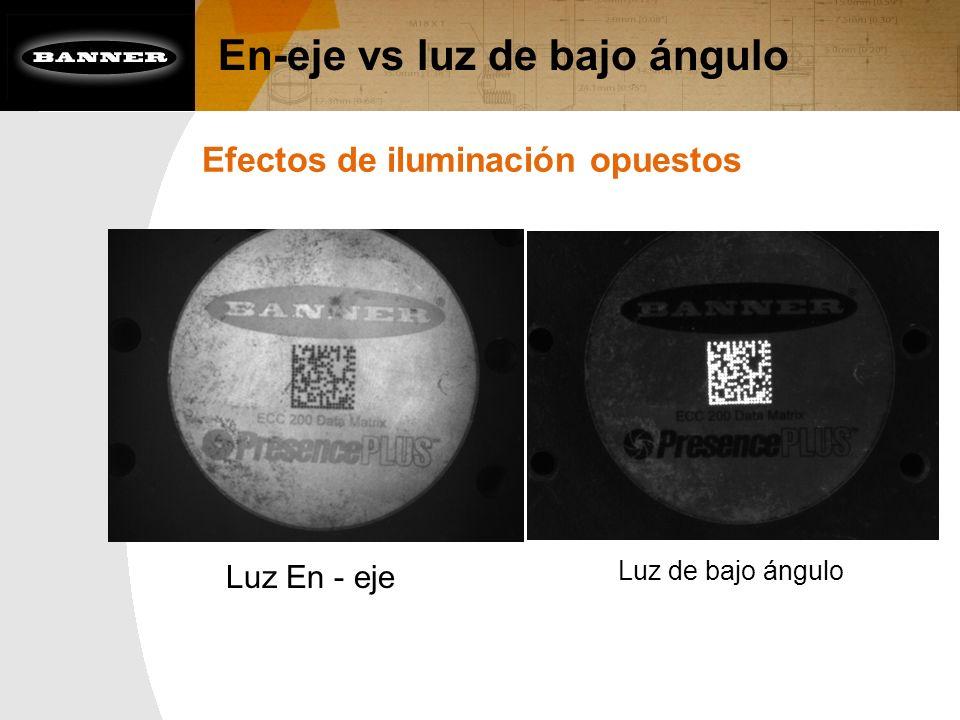 En-eje vs luz de bajo ángulo Efectos de iluminación opuestos Luz En - eje Luz de bajo ángulo