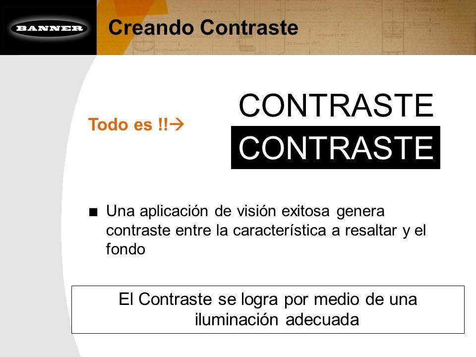 Creando Contraste Todo es !! Una aplicación de visión exitosa genera contraste entre la característica a resaltar y el fondo CONTRASTE El Contraste se