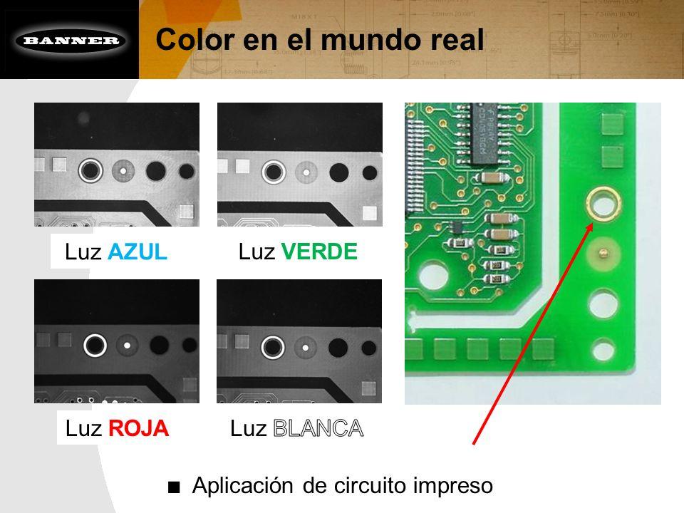 Color en el mundo real Luz AZUL Luz VERDE Luz ROJA Aplicación de circuito impreso