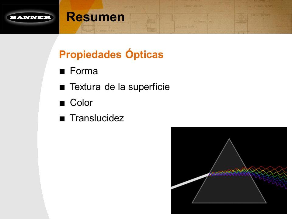 Propiedades Ópticas Forma Textura de la superficie Color Translucidez