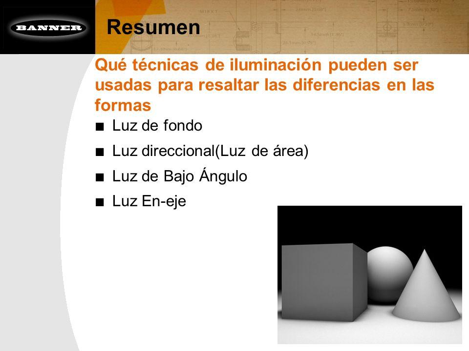 Resumen Qué técnicas de iluminación pueden ser usadas para resaltar las diferencias en las formas Luz de fondo Luz direccional(Luz de área) Luz de Baj