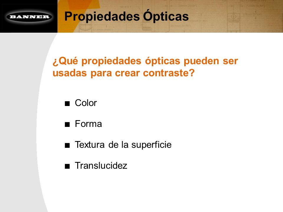 Propiedades Ópticas ¿Qué propiedades ópticas pueden ser usadas para crear contraste? Color Forma Textura de la superficie Translucidez
