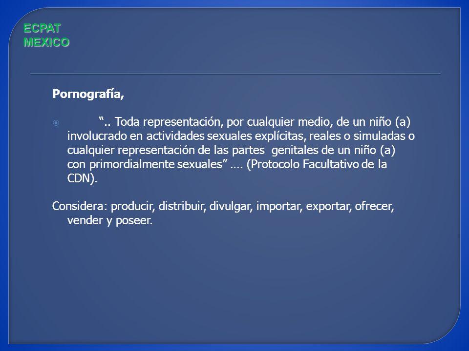 Definiciones: Prostitución, … la utilización de un niño (a) en actividades sexuales a cambio de remuneración o cualquier otra forma de retribución. (P