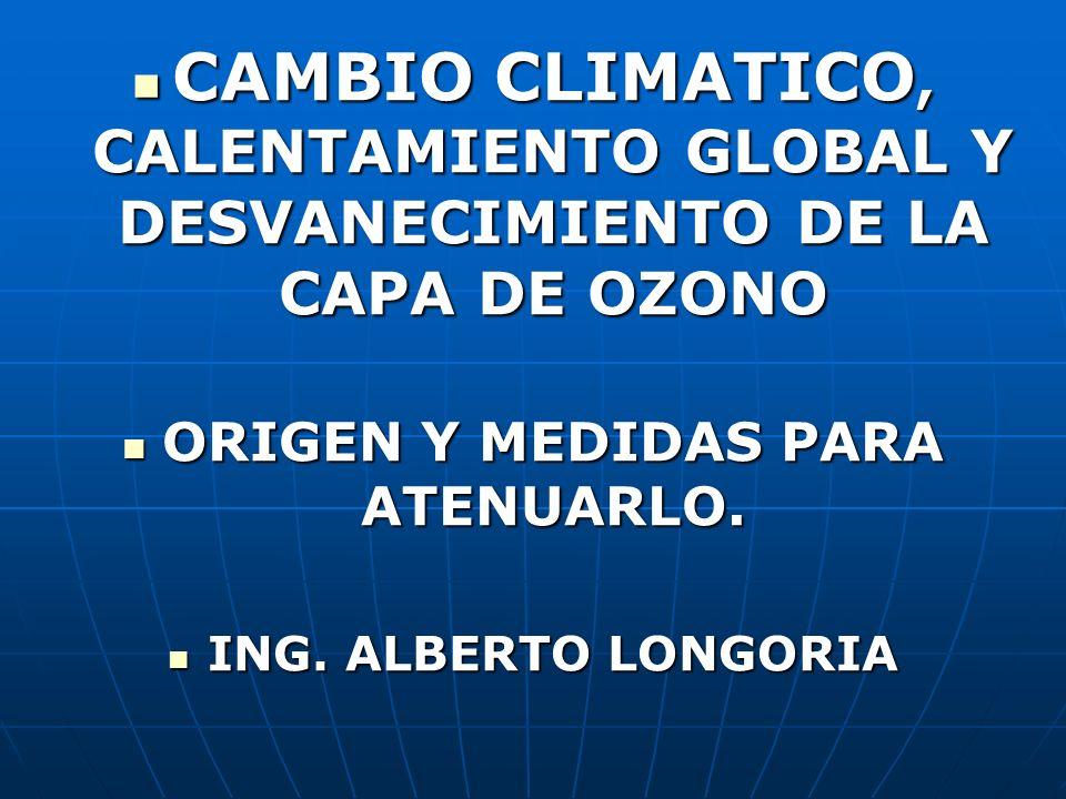 CAMBIO CLIMATICO, CALENTAMIENTO GLOBAL Y DESVANECIMIENTO DE LA CAPA DE OZONO CAMBIO CLIMATICO, CALENTAMIENTO GLOBAL Y DESVANECIMIENTO DE LA CAPA DE OZ
