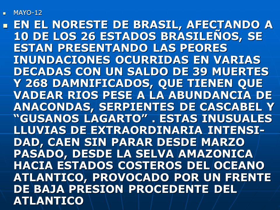 MAYO-12 MAYO-12 EN EL NORESTE DE BRASIL, AFECTANDO A 10 DE LOS 26 ESTADOS BRASILEÑOS, SE ESTAN PRESENTANDO LAS PEORES INUNDACIONES OCURRIDAS EN VARIAS