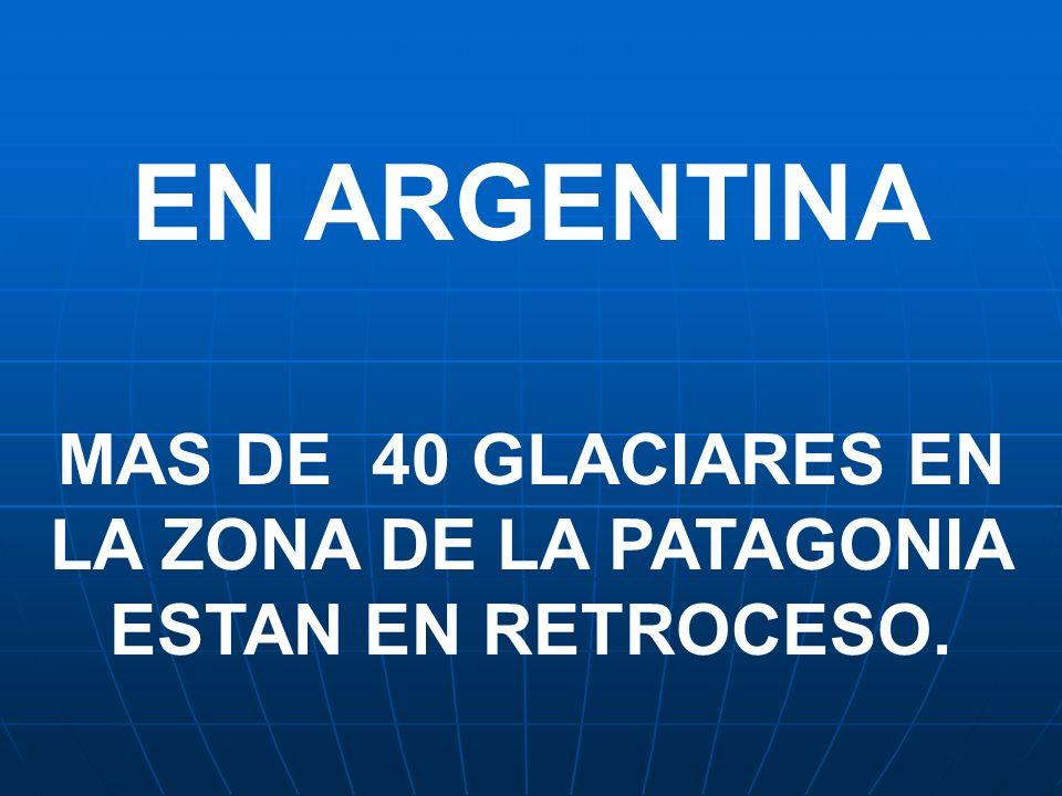 EN ARGENTINA MAS DE 40 GLACIARES EN LA ZONA DE LA PATAGONIA ESTAN EN RETROCESO.