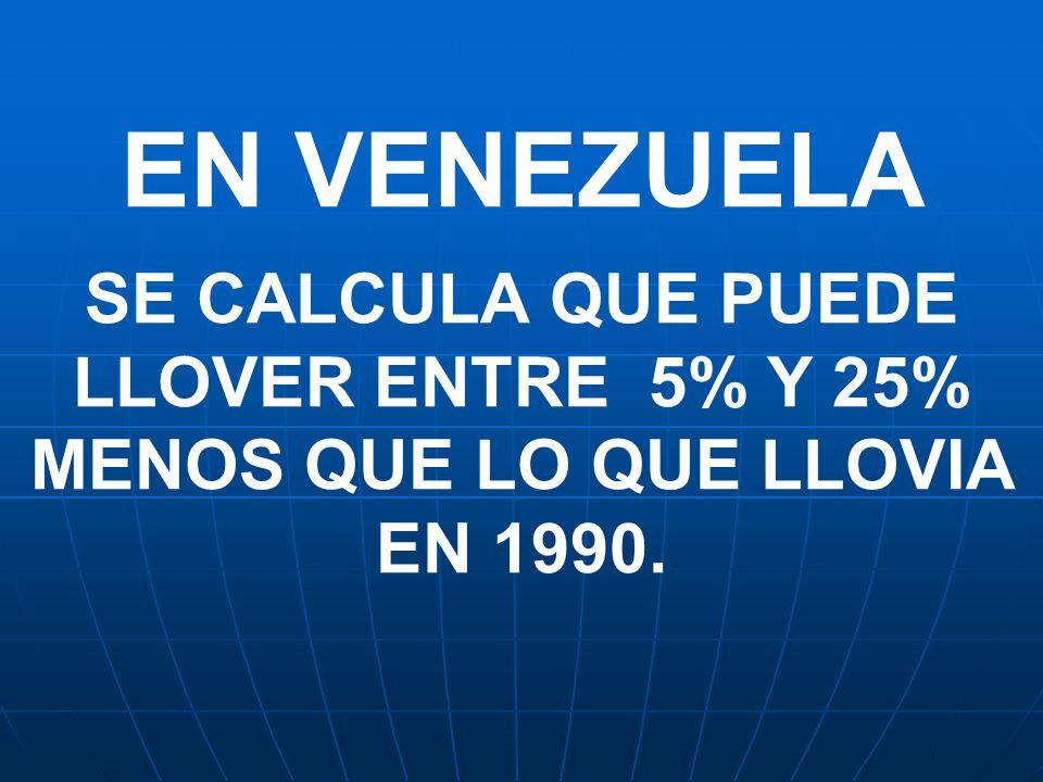 EN VENEZUELA SE CALCULA QUE PUEDE LLOVER ENTRE 5% Y 25% MENOS QUE LO QUE LLOVIA EN 1990.