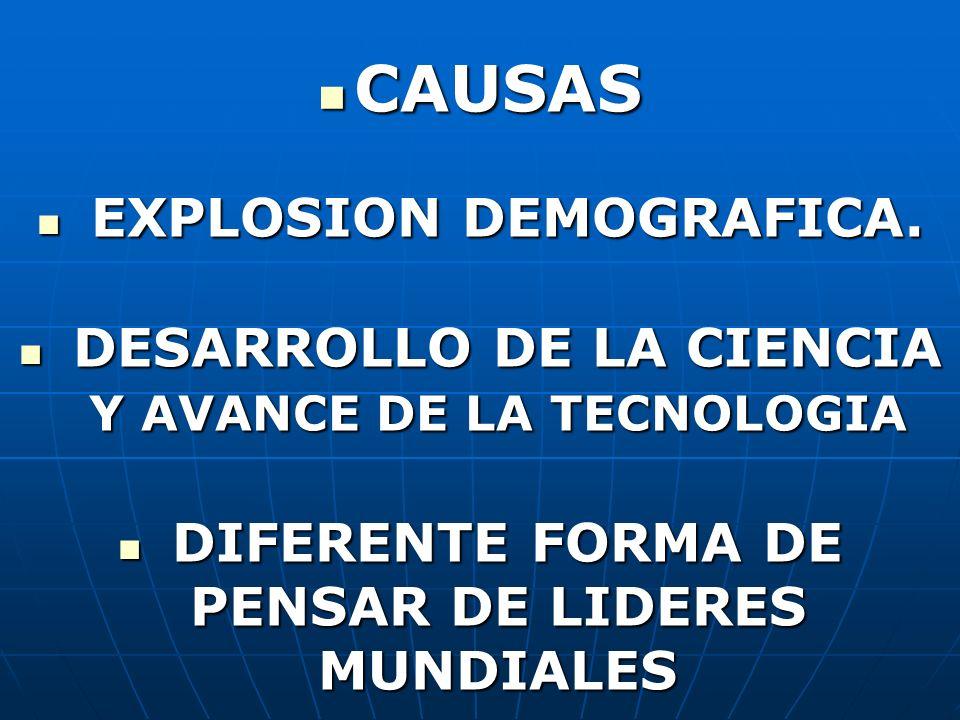 CAUSAS CAUSAS EXPLOSION DEMOGRAFICA. EXPLOSION DEMOGRAFICA. DESARROLLO DE LA CIENCIA Y AVANCE DE LA TECNOLOGIA DESARROLLO DE LA CIENCIA Y AVANCE DE LA