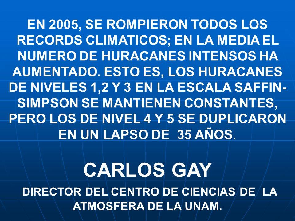 EN 2005, SE ROMPIERON TODOS LOS RECORDS CLIMATICOS; EN LA MEDIA EL NUMERO DE HURACANES INTENSOS HA AUMENTADO. ESTO ES, LOS HURACANES DE NIVELES 1,2 Y