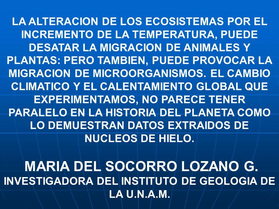 LA ALTERACION DE LOS ECOSISTEMAS POR EL INCREMENTO DE LA TEMPERATURA, PUEDE DESATAR LA MIGRACION DE ANIMALES Y PLANTAS: PERO TAMBIEN, PUEDE PROVOCAR L