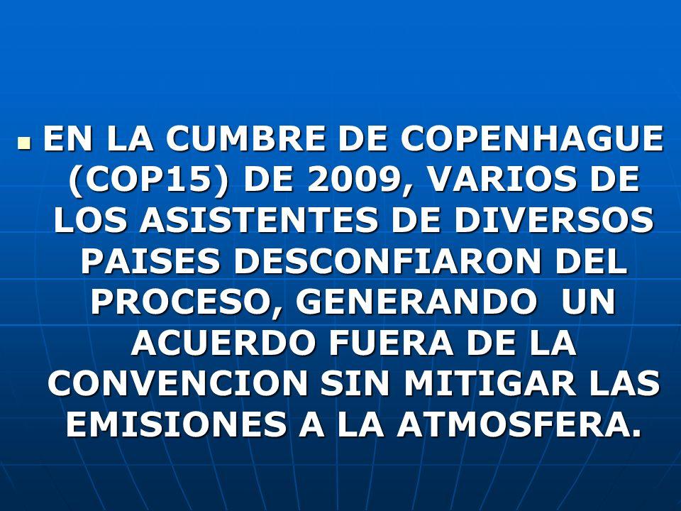 EN LA CUMBRE DE COPENHAGUE (COP15) DE 2009, VARIOS DE LOS ASISTENTES DE DIVERSOS PAISES DESCONFIARON DEL PROCESO, GENERANDO UN ACUERDO FUERA DE LA CON