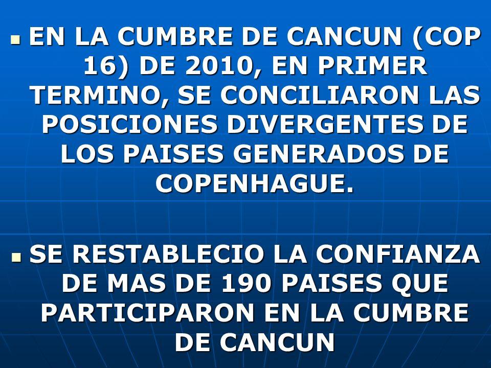 EN LA CUMBRE DE CANCUN (COP 16) DE 2010, EN PRIMER TERMINO, SE CONCILIARON LAS POSICIONES DIVERGENTES DE LOS PAISES GENERADOS DE COPENHAGUE. EN LA CUM