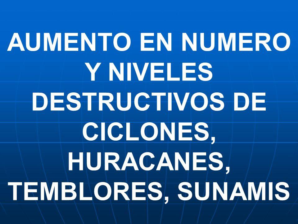 AUMENTO EN NUMERO Y NIVELES DESTRUCTIVOS DE CICLONES, HURACANES, TEMBLORES, SUNAMIS