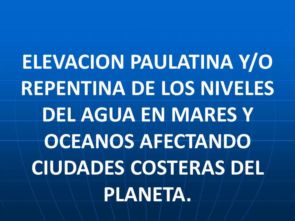 ELEVACION PAULATINA Y/O REPENTINA DE LOS NIVELES DEL AGUA EN MARES Y OCEANOS AFECTANDO CIUDADES COSTERAS DEL PLANETA.