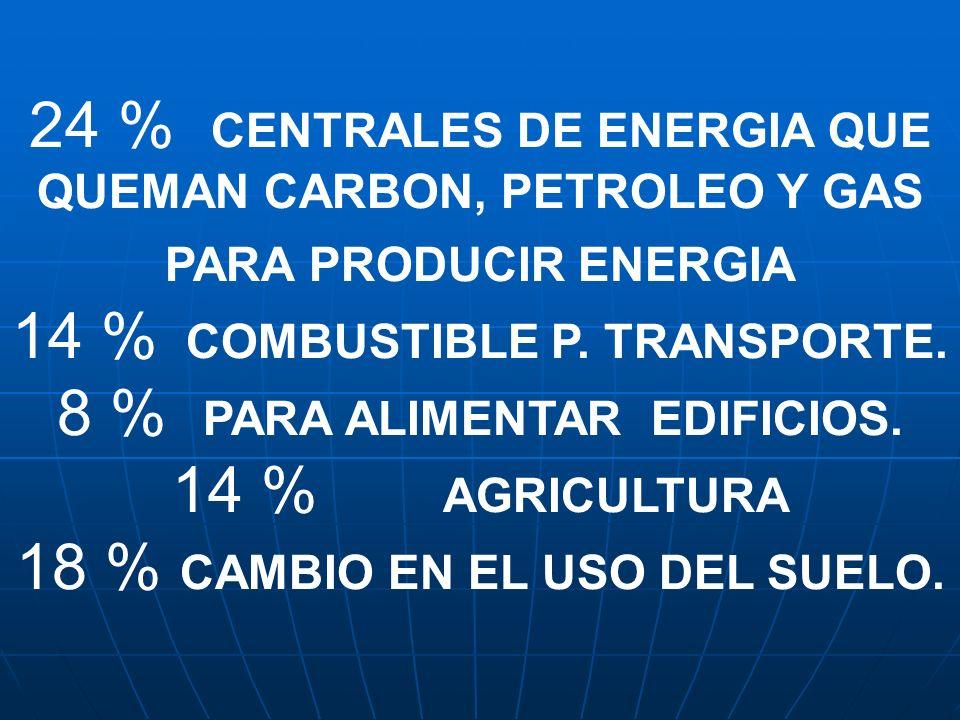 24 % CENTRALES DE ENERGIA QUE QUEMAN CARBON, PETROLEO Y GAS PARA PRODUCIR ENERGIA 14 % COMBUSTIBLE P. TRANSPORTE. 8 % PARA ALIMENTAR EDIFICIOS. 14 % A