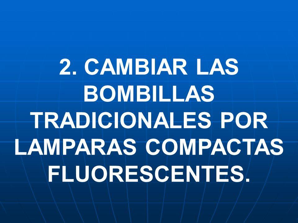 2. CAMBIAR LAS BOMBILLAS TRADICIONALES POR LAMPARAS COMPACTAS FLUORESCENTES.