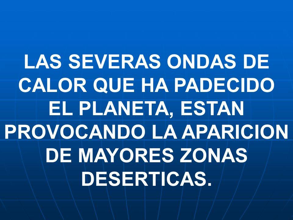 LAS SEVERAS ONDAS DE CALOR QUE HA PADECIDO EL PLANETA, ESTAN PROVOCANDO LA APARICION DE MAYORES ZONAS DESERTICAS.