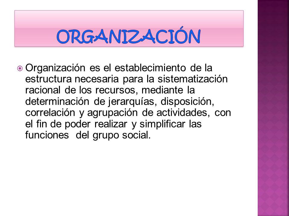 Acto de organizar, integrar y estructurar los recursos y órganos involucrados en su administración, establecer relaciones entre ellos y asignar las atribuciones de cada una.