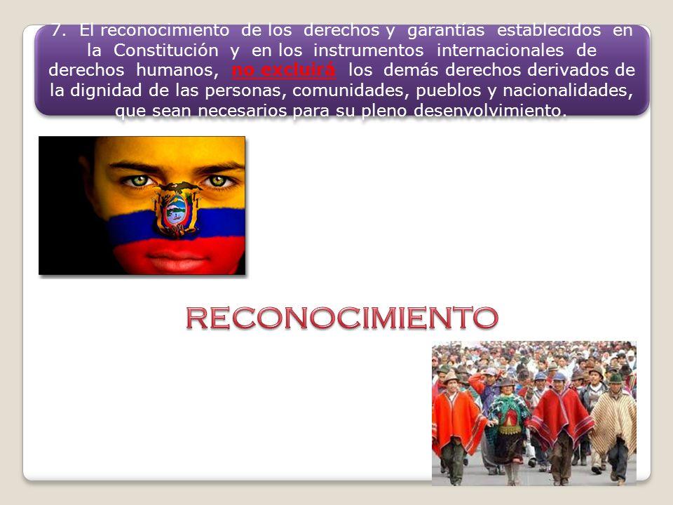 7. El reconocimiento de los derechos y garantías establecidos en la Constitución y en los instrumentos internacionales de derechos humanos, no excluir