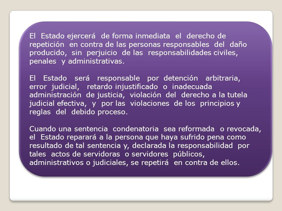 El Estado ejercerá de forma inmediata el derecho de repetición en contra de las personas responsables del daño producido, sin perjuicio de las respons