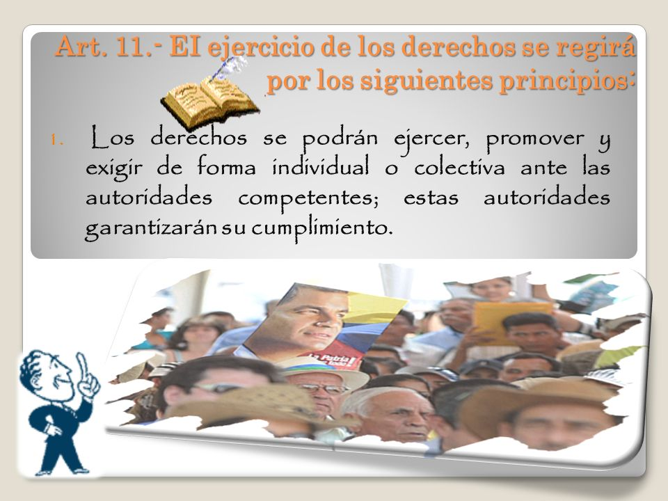 Art. 11.- EI ejercicio de los derechos se regirá por los siguientes principios: 1. Los derechos se podrán ejercer, promover y exigir de forma individu