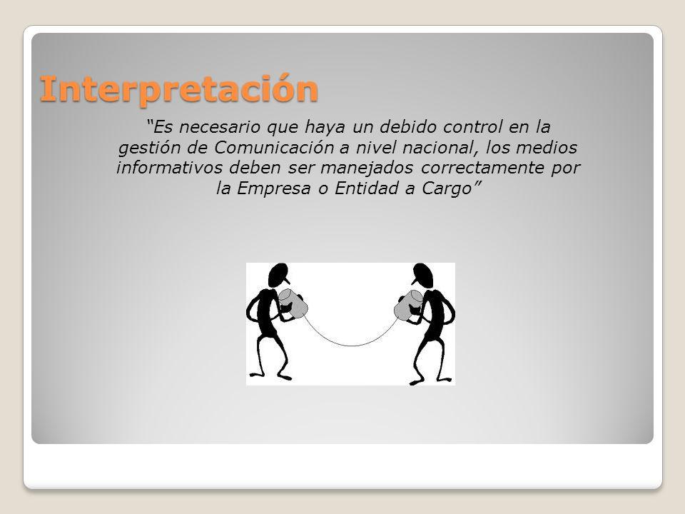 Interpretación Es necesario que haya un debido control en la gestión de Comunicación a nivel nacional, los medios informativos deben ser manejados cor