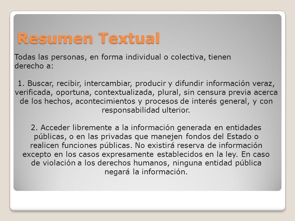 Resumen Textual Todas las personas, en forma individual o colectiva, tienen derecho a: 1. Buscar, recibir, intercambiar, producir y difundir informaci