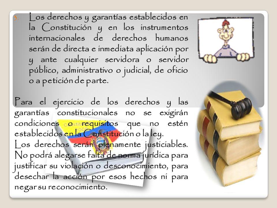 3. Los derechos y garantías establecidos en la Constitución y en los instrumentos internacionales de derechos humanos serán de directa e inmediata apl