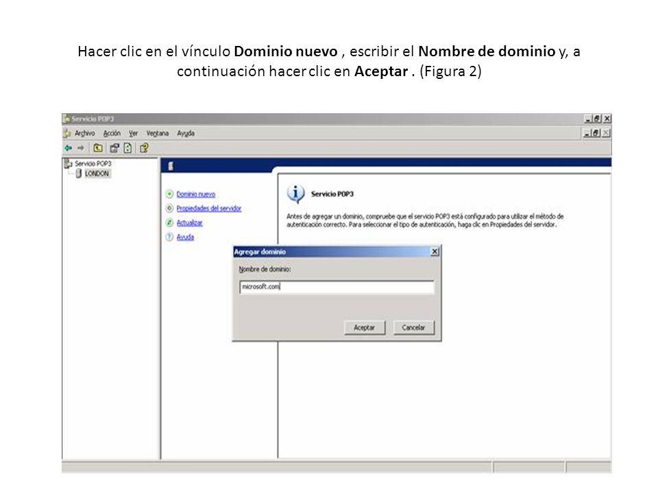 Hacer clic en el vínculo Dominio nuevo, escribir el Nombre de dominio y, a continuación hacer clic en Aceptar.