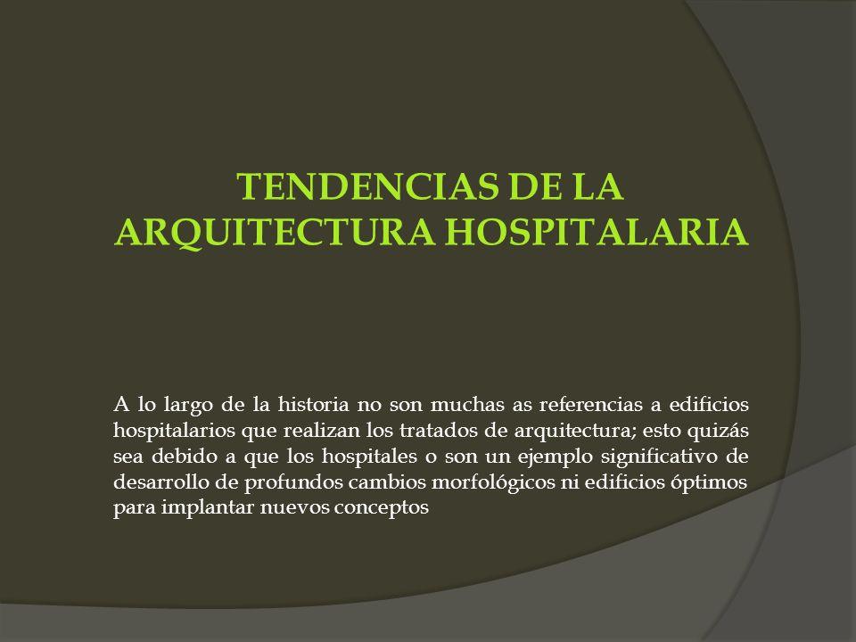 TENDENCIAS DE LA ARQUITECTURA HOSPITALARIA A lo largo de la historia no son muchas as referencias a edificios hospitalarios que realizan los tratados