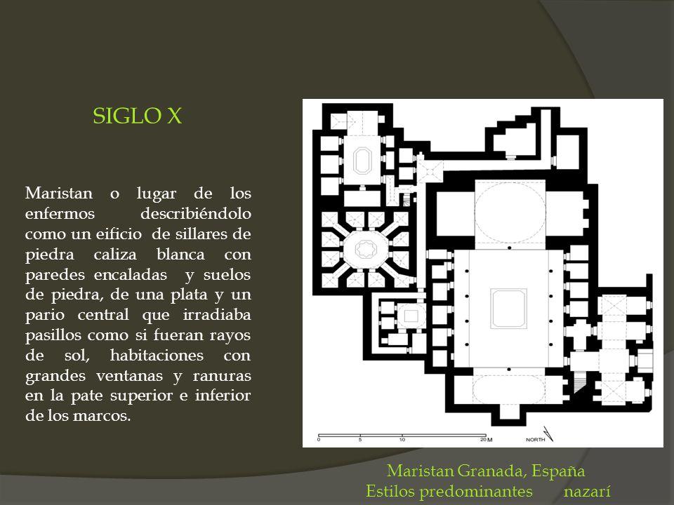 SIGLO X Maristan o lugar de los enfermos describiéndolo como un eificio de sillares de piedra caliza blanca con paredes encaladas y suelos de piedra,