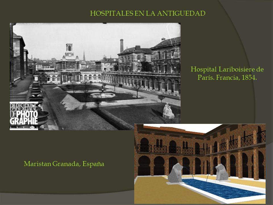 Hospital Lariboisiere de París. Francia, 1854. Maristan Granada, España HOSPITALES EN LA ANTIGUEDAD