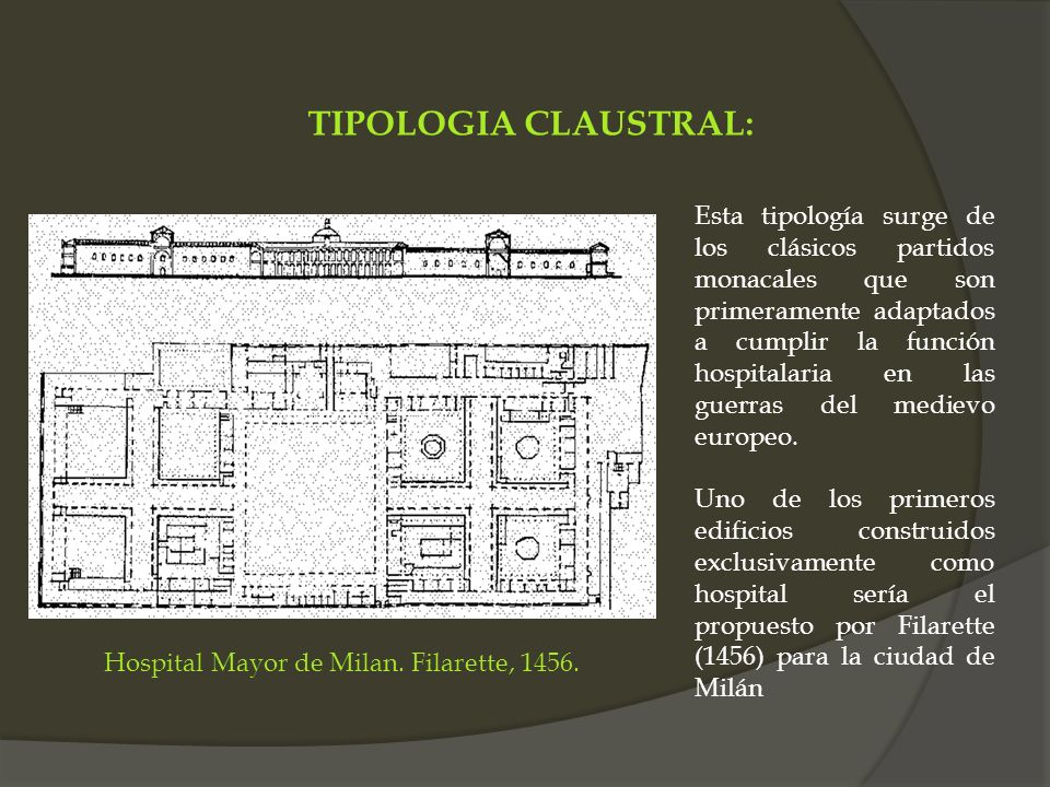 Hospital Mayor de Milan. Filarette, 1456. Esta tipología surge de los clásicos partidos monacales que son primeramente adaptados a cumplir la función