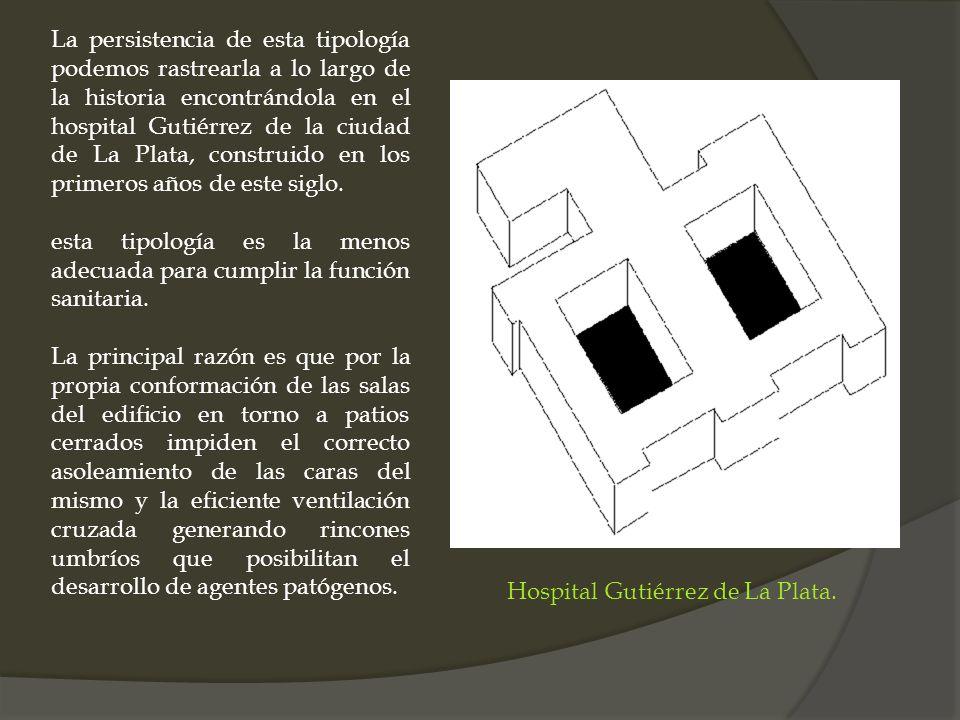 La persistencia de esta tipología podemos rastrearla a lo largo de la historia encontrándola en el hospital Gutiérrez de la ciudad de La Plata, constr