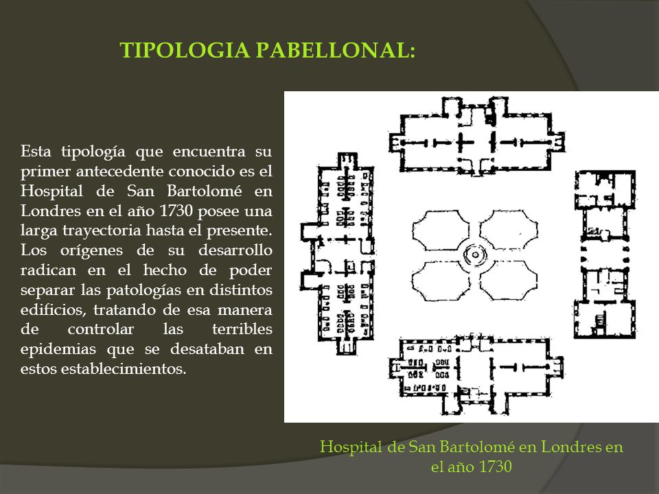 TIPOLOGIA PABELLONAL: Esta tipología que encuentra su primer antecedente conocido es el Hospital de San Bartolomé en Londres en el año 1730 posee una
