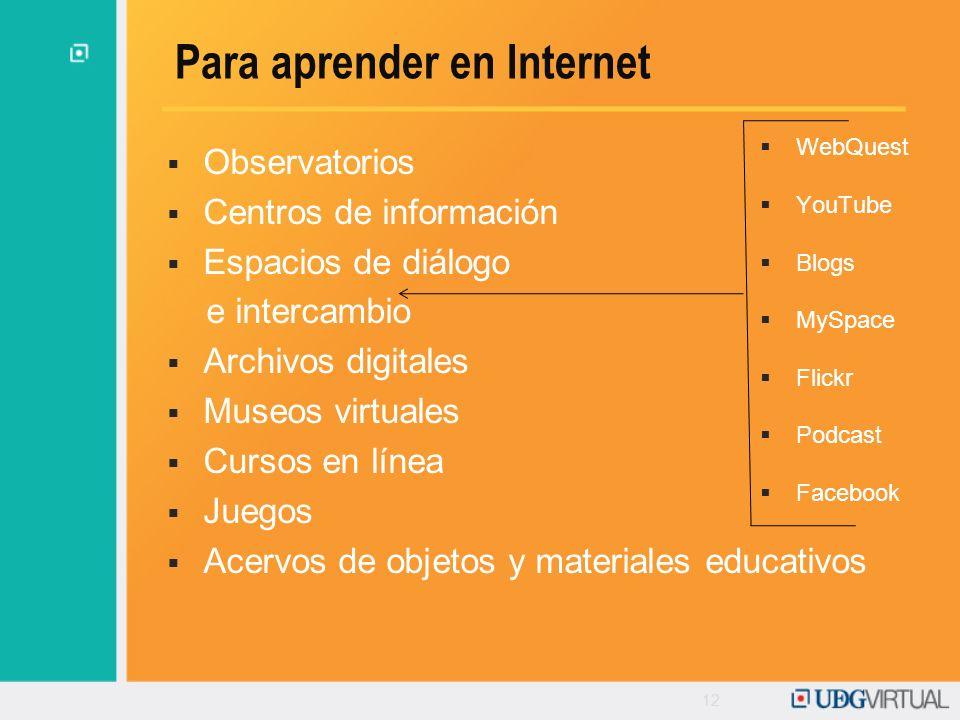 12 Para aprender en Internet Observatorios Centros de información Espacios de diálogo e intercambio Archivos digitales Museos virtuales Cursos en líne