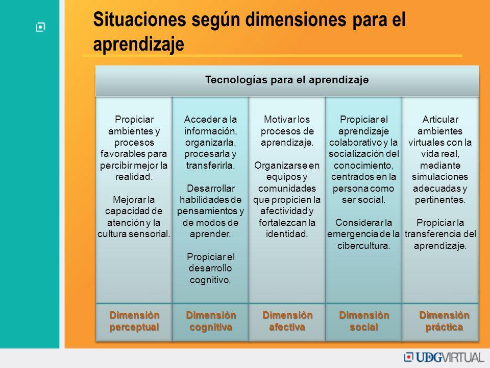 Situaciones según dimensiones para el aprendizaje Propiciar ambientes y procesos favorables para percibir mejor la realidad. Mejorar la capacidad de a