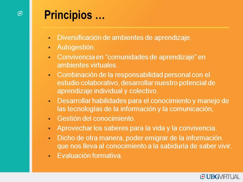Principios … Diversificación de ambientes de aprendizaje. Autogestión. Convivencia en comunidades de aprendizaje en ambientes virtuales. Combinación d