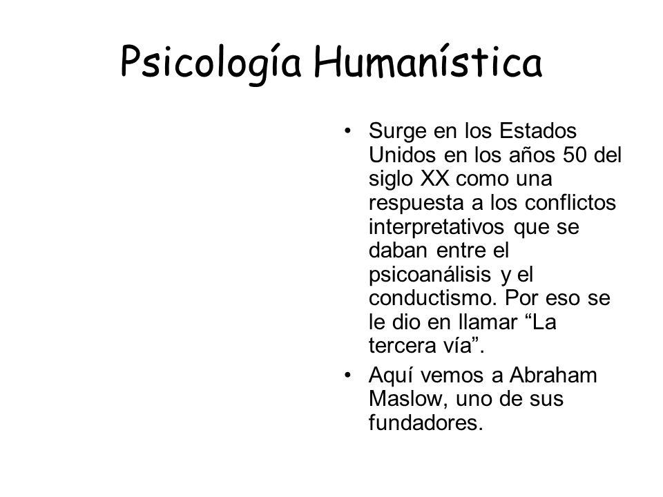 Psicología Humanística Surge en los Estados Unidos en los años 50 del siglo XX como una respuesta a los conflictos interpretativos que se daban entre