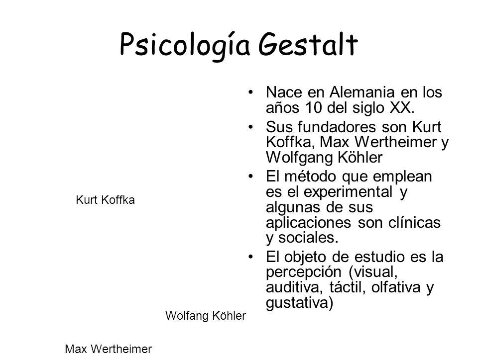 Psicología Gestalt Nace en Alemania en los años 10 del siglo XX. Sus fundadores son Kurt Koffka, Max Wertheimer y Wolfgang Köhler El método que emplea