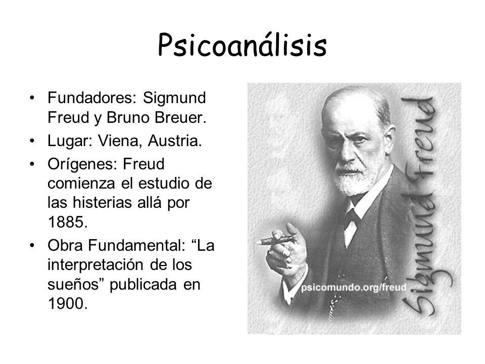 Psicoanálisis Fundadores: Sigmund Freud y Bruno Breuer. Lugar: Viena, Austria. Orígenes: Freud comienza el estudio de las histerias allá por 1885. Obr