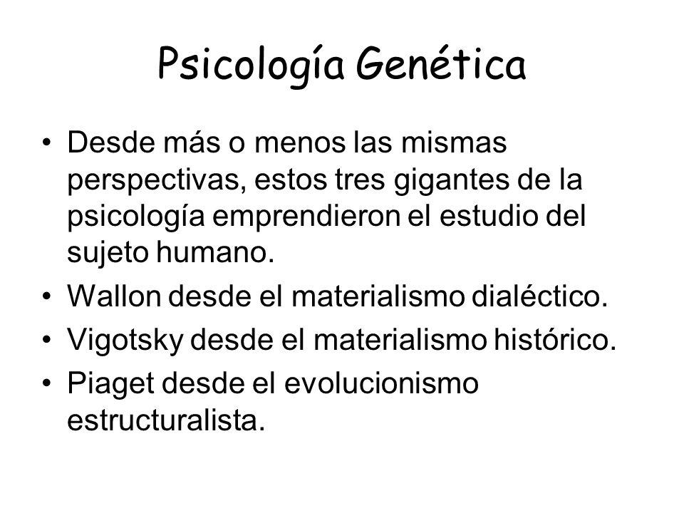 Psicología Genética Desde más o menos las mismas perspectivas, estos tres gigantes de la psicología emprendieron el estudio del sujeto humano. Wallon