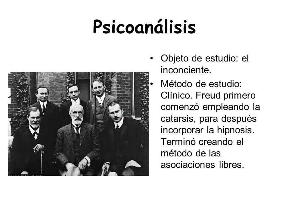 Psicoanálisis Objeto de estudio: el inconciente. Método de estudio: Clínico. Freud primero comenzó empleando la catarsis, para después incorporar la h