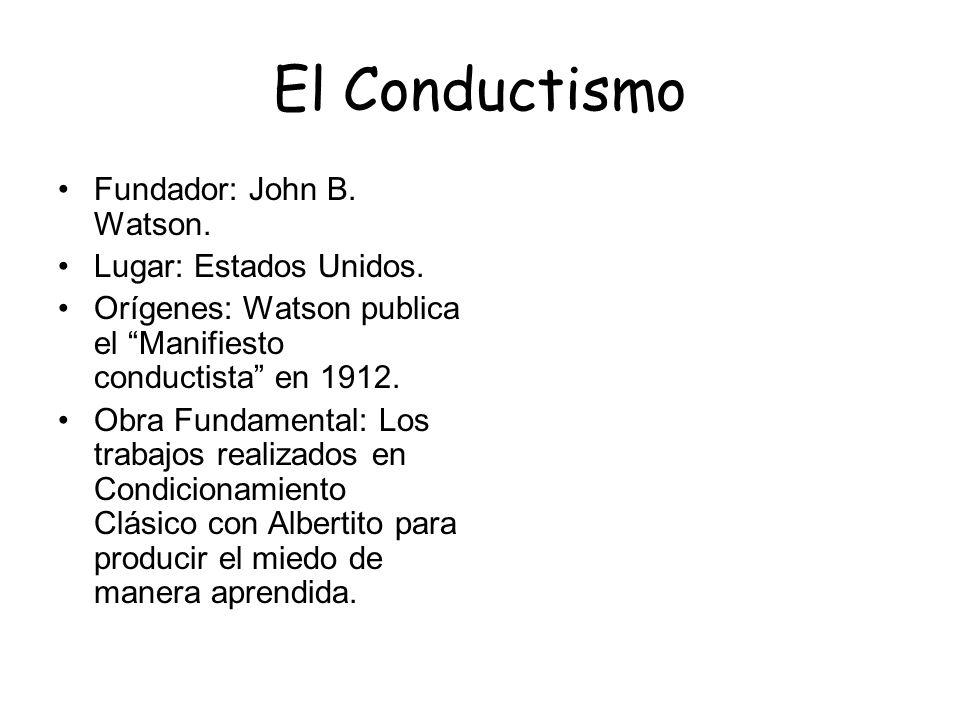 El Conductismo Fundador: John B. Watson. Lugar: Estados Unidos. Orígenes: Watson publica el Manifiesto conductista en 1912. Obra Fundamental: Los trab